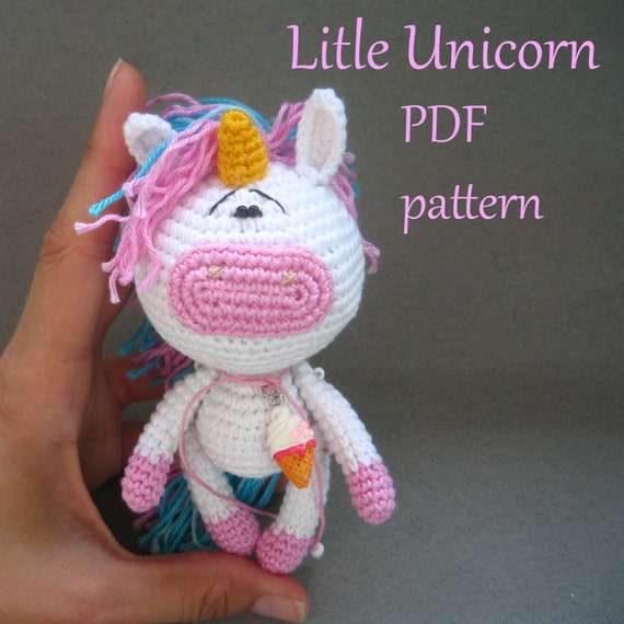 Tutorial Amigurumi Unicorno : Amigurumi crochet Little Unicorn pattern PDF pattern ENGLISH