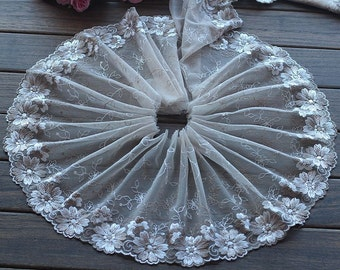 High Quality Floral Embroidered Lace Trim  Tulle Lace Trim 7.48 Inches Wide 2 yards X0143