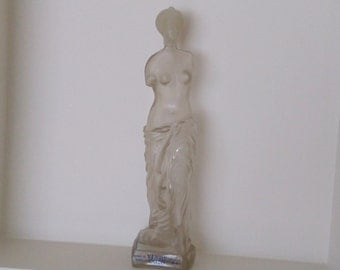 Vintage frosted glass sculptured bottle Brandy Venus Ouso Greek Collectable