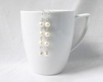 freshwater pearl earrings, sterling silver,fresh water pearl earring, bridesmaids pearl earrings, wedding earrings, pearl jewelry