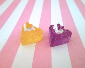 Jello Heart Decoden Dessert Cabochons, Kawaii Heart Jelly Cabs, #053b