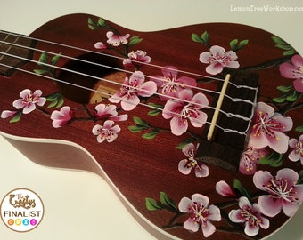 YOUR Soprano Ukulele Handpainted with Cherry Blossoms (Ukulele not included)