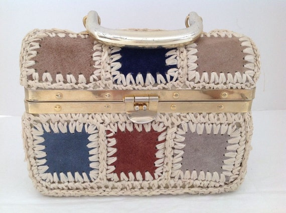 VTG Raffia and Suede Bag by Rosenfeld