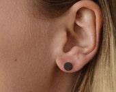 Diskette - circular blackened silver stud earrings