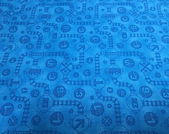 Fast Friends Thomas The Train Blue Tracks from Quilting Treasures by the yard