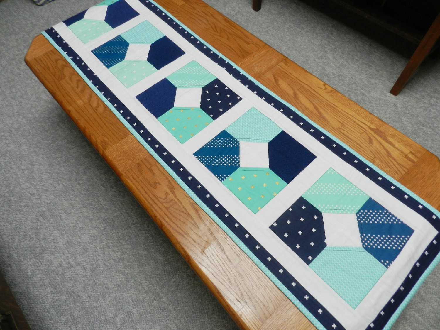 Blue And Mint Green Table Runner Modern Table Runner Blue