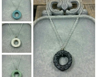 Minimalist Essential-Oil Lava Stone Diffusing Necklace / aromatherapy necklace / EO Necklace / EO Diffuser/ sterling silver chain