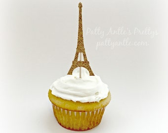Glitter Eiffel Tower Cupcake Toppers, Eiffel Tower Cupcake Toppers, Eiffel Tower Toppers, Paris Cupcake Toppers, French Cupcake Topper
