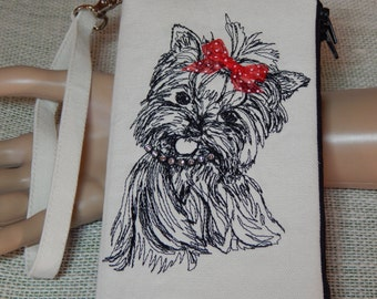 Yorkie Lovers/Wristlet Wallet/Embroidered Pets/Gifts for Her/Gifts for Mothers Day