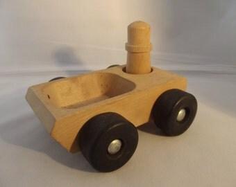 vintage wooden toy car, dumptruck, design Jukka Finland