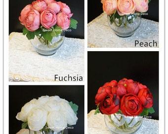 JennysFlowerShop 7'' Silk Ranunculus Artificial Flower Arrangement w/ Glass Vase for Wedding/Home Decorations