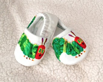 Baby Booties with Caterpillar print ( prints may vary), Baby booties, Baby Moccasins, Crib Shoes, Baby Gift