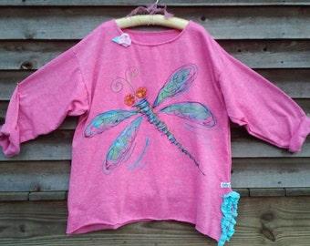 Hot Pink Tunic Dragonfly Hand Painted Sweatshirt Regular to Plus Size Made to Order KellyJacksonDesign