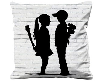 Banksy Boy Meets Girl Faux Silk 45cm x 45cm Sofa Cushion