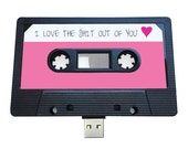 4GB/8GB/16GB USB Mix tape - Retro Personalised Gift - Love, Birthday Present, Funny, Photos, Girlfriend, Wife, Pink, Fun Flash Drive