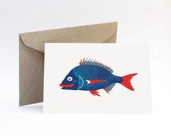 Bream on white card – Nautical birthday, boyfriend, brother, fishing dad, Father's Day, cute Australian fish