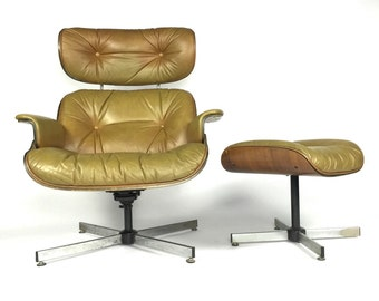 Mid Century Lounge Chair + Ottoman by Selig Eames style modern