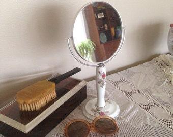 Vintage Porcelain Make Up Vanity Dresser Mirror Rose Design ~Vintage Make Up Mirror ~ Double sided Mirror ~ Shabby ~ Chic ~Cottage Chic
