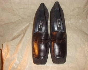 Black Leather/Gray Fabric STUART WEITZMAN Loafer Pumps 7C