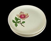 Crooksville China Plates, Bread and Butter, Southern Belle Pattern, Set of 4, Pink Floral Plates