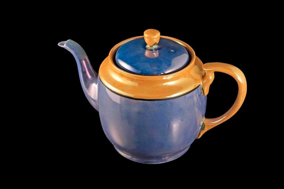 Blue Handpainted Lusterware Teapot, Iridescent, Made in Japan, Peach Trim, Black Line