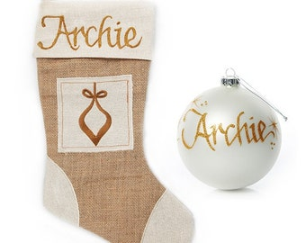 Personalised Burlap Bauble Stocking and Bauble Pack