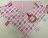 Baby Sensory Tag Blanket with Organic Teething Ring/Gray and Pink Elephants/Taggie Baby Blanket