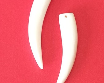 2 White tusk pendant, Carved bone pendant, Handcarved bone pendant white