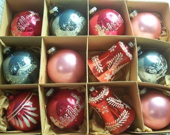 One Dozen Assorted Shiny Brite/Poland Christmas Ornaments