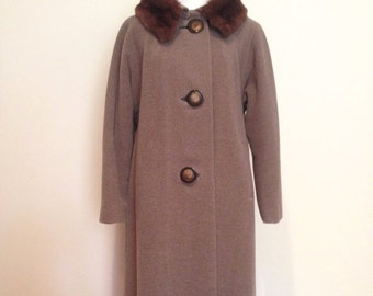 On Sale 1960's Wool Coat with Fur Collar, 60's Three Button Swing Coat with Fur Collar