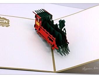 3D Pop Up Steam Train Locomotive Card