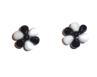 Chic Vintage Black and White Earrings