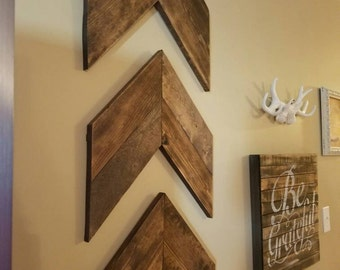 Set of 3 Wood Chevron signs