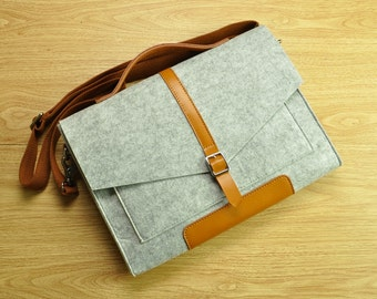 Felt attache case,laptop messenger,MacBook bag,laptop bag for men,13 MacBook Air,felt Briefcase Macbook Bag with Handle for Macbook15-TFL148