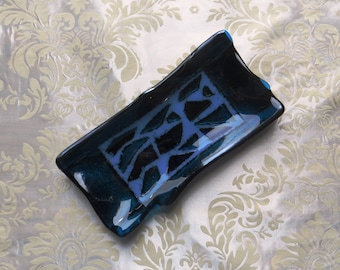 Small Fused Glass Tray in Black and Iridescent Teal Blue with Crushed Glass Accents