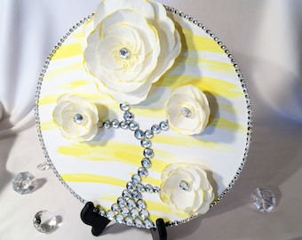 Yellow and white 3D flower wall picture, Paper flower picture, Tree picture decor, Yellow floral wall art, Wall flower art, Girls room decor