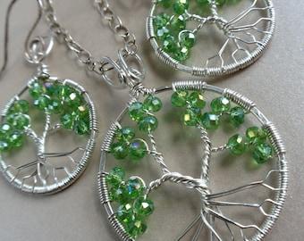 Peridot Tree of Life Jewelry Set August Birthstone