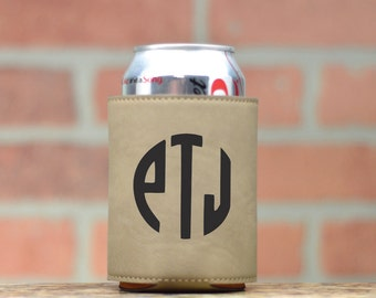 Monogrammed Leather Can Cooler. Personalized Cozies. Leath Can Cooler. Beer Cozy. Beer Cooler. Custom Cozy