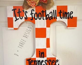 UT Vols Orange & White Checker Tennessee Vols Football Wooden Door Hanger // Go Big Orange Door Decor // University of Tennessee Wreath