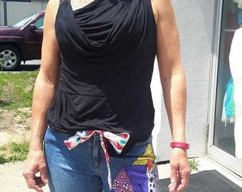 Hand painted one of a kind Martini pants Crop pants Capris jeans with self tie sash FREE SHIPPING from RCMooreVintage