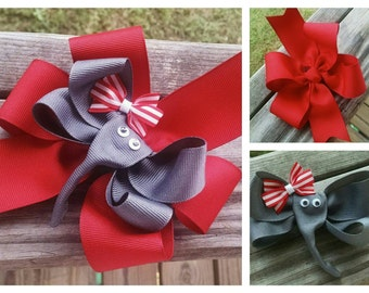 Elephant/Red Pinwheel Hairbow 3-in-1 Red/Gray