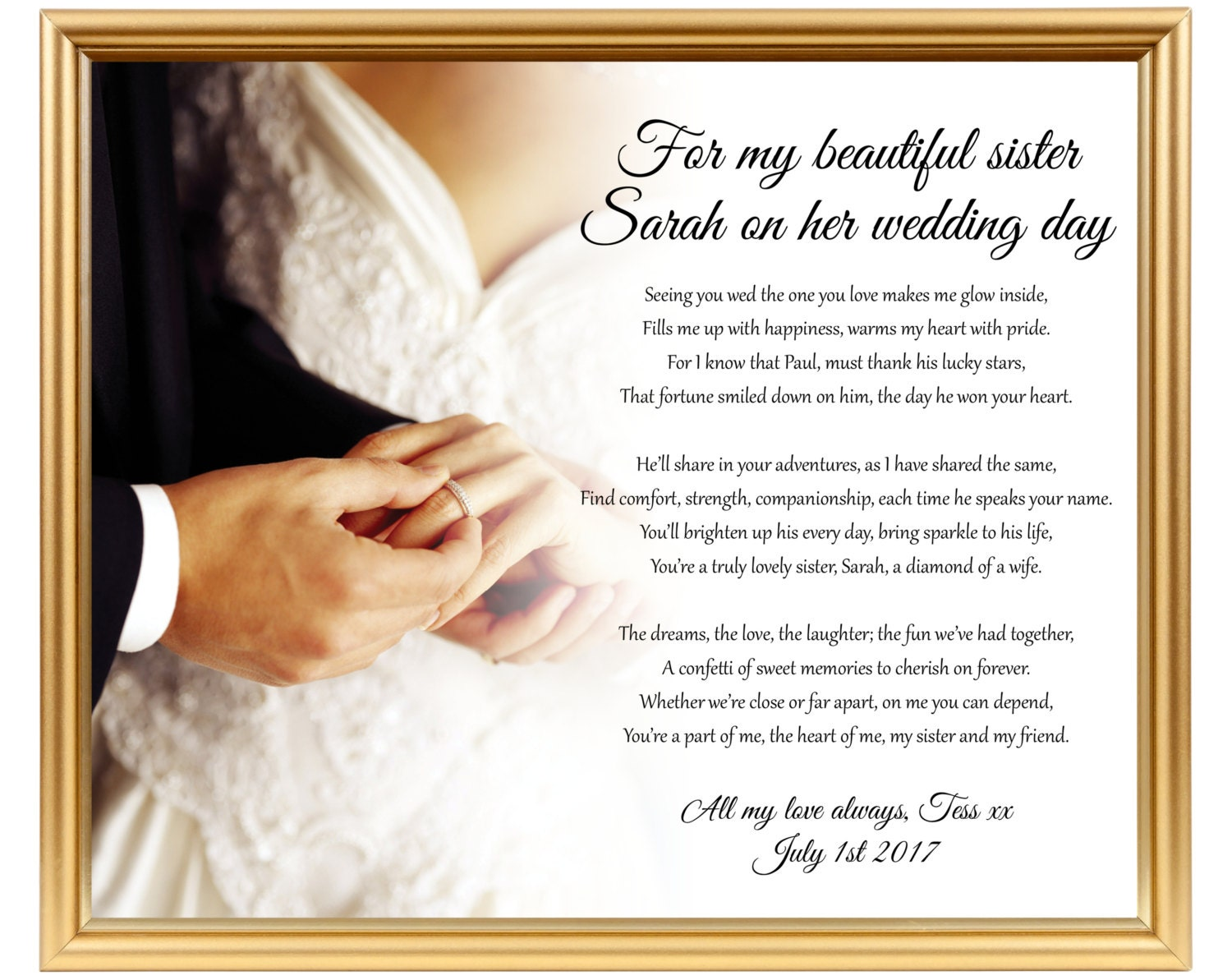 Perfect Wedding Gift For Sister: Wedding Gift Poem For Sister Sister Wedding By