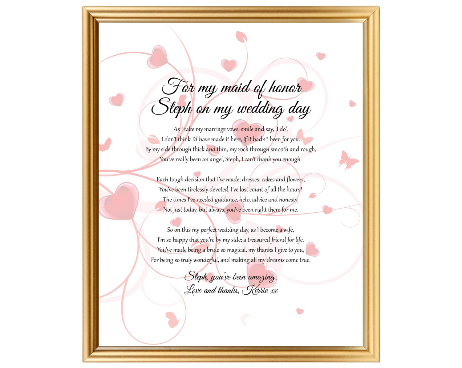 Wedding Gift For Bride From Best Friend : Maid of Honor Bride gift for her best friend On my wedding
