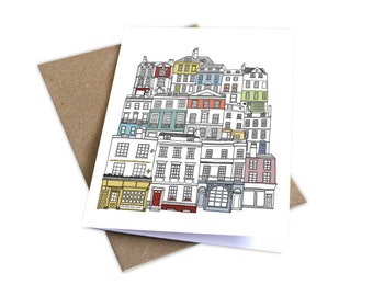 Bath Houses Illustrated Greetings Card, Any Occasion Card, Bath Illustration, Drawings of Buildings, Georgian Architecture, Bath Card