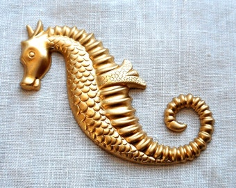 1 raw hollow backed brass stamping, art nouveau, decom nauticle seahorse, ornament, pendant, charm, connector, 60mm x 33mm, USA made C7601