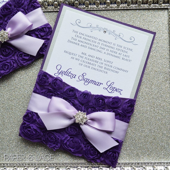 Purple Rosette Quince Invitation - Purple and Silver Swarovski Crystal Pocket Invitation - Sweet Sixteen Invitation - Quinceanera (YELITZA)
