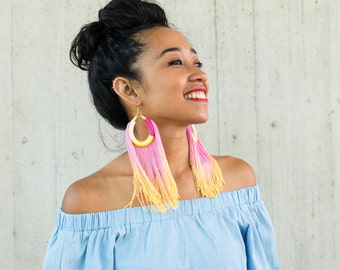 CHILLI // Pink Tassel Earrings, Pink Yellow Tassel Earrings, Extra Long Tassel Earrings, Statement Earrings, Big Earrings, Fringe Earrings