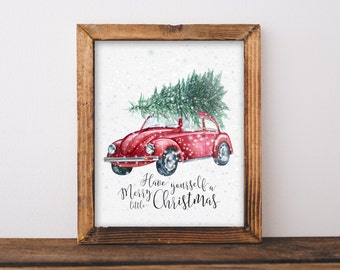 Printable Christmas Decor, Last Minute Present, Teacher Gift, Decorations Download, Have Yourself A Merry Little Christmas Tree on Car