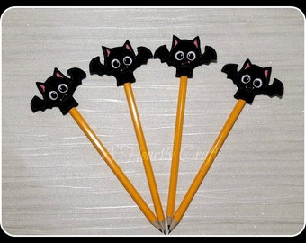 Felt Bat Pencil Topper **WITH PENCIL** Handmade Embroidered Party Favors Celebration Halloween Birthday Gift