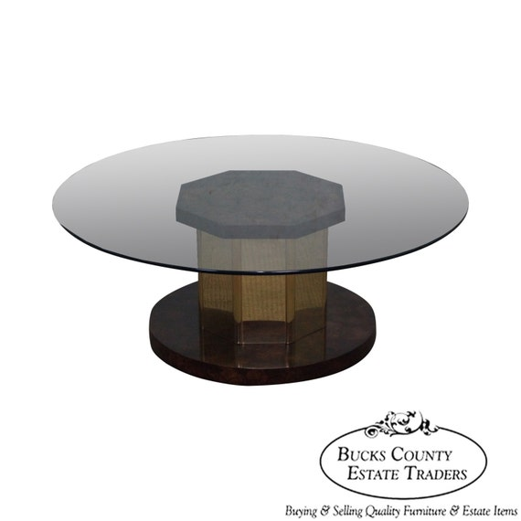 Antique Brass And Glass Round Coffee Table: Mastercraft Burl Wood & Brass Round Glass Top Coffee Table